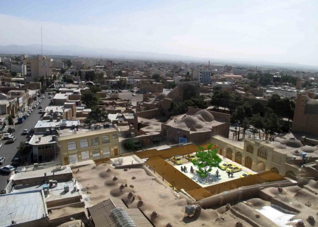 طرح بدنه و کفسازی جلوخان مسجد امام سمنان