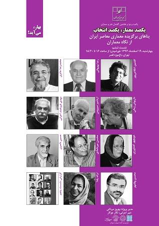 نشست ششم یکصد معمار؛یکصد انتخاب-(نشست۱۹۷ گفتمان هنر و معماری،انجمن مفاخر معماری ایران)